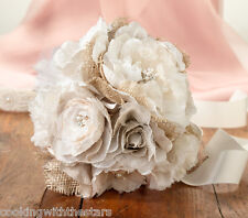 Burlap & Lace Bridal Bouquet and Groom's Boutonniere SET
