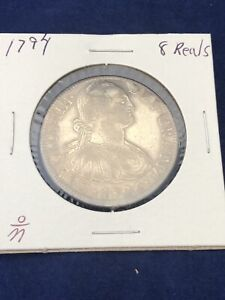 8 Reales 1794 Mexico F M Charles IIII Silver Coin