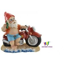 NOVELTY GARDEN GNOME WITH A BEER & MOTORBIKE FUNNY GIFT LAWN ORNAMENT GARDEN NEW