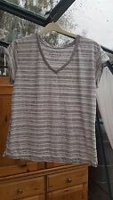 Atmosphere Cap Sleeved T Shirt, Grey & White Striped, V Neck, Size 14, VGC