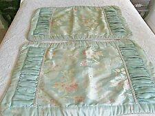 Brocade Floral King Pillow Shams 1 Pair (2) Light Teal Green - Stunning Trim