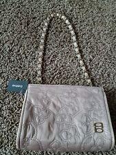 bebe shoulder purse/clutch leather trim. Beige/gold