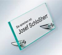 Namensschild ESG-Glas und Edelstahl Tischaufsteller Hinweisschild für Empfang