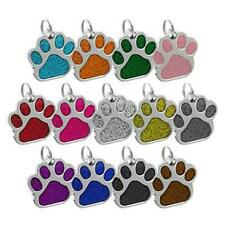 Colorful Glitter Paw Dog ID Name Tag Disc Personalised Pet Cat Identity Tags