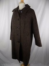 Arlette Black & Brown Spec Wool Long Coat Women's XL USA