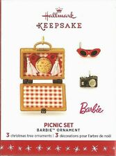 Hallmark 2016 Picnic Set Barbie 3 miniature Limited Edition Ornaments