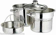 Genuine Kitchencraft Pasta Cooking / Stock Pot Pan, Steamer, Insert & Glass Lid