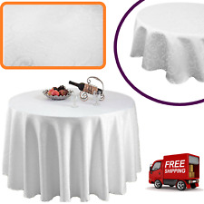 White Damask Table Cloth Round Polyester Swirl Table Cover 70/90/120 Inches