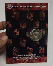 1 SOL 2013 COIN BLISTER RIQUEZA ORGULLO PERU ARTE TEXTIL PARACAS ICA # 14 (<)