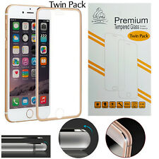 Metal Edge iPhone 7 Gold Twin Pack Gorilla Screen Protector Tempered Glass