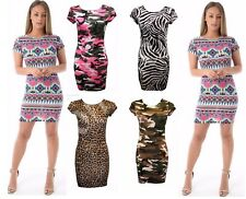 AS Ladies Printed Short Cap Sleeves Stretch Fit Bodycon Midi Dress Plus Size