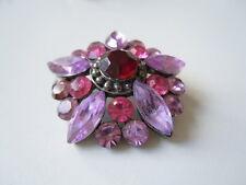 Modeschmuck Brosche Strass Rosa Pink Violette Steine 19,3 g/Ø 3,9 cm