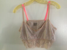 XHILARATION PERFECT COTTON AND LACE BRALETTE BRA LACY HOT PINK NUDE Mochacion XL