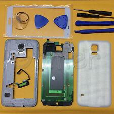 Full Housing Case For Samsung Galaxy S5 4G LTE G900F Frame + Front Glass White