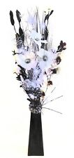 Grasses Artificial Flowers Wood Vases Bright Silver LED Lights 85 Cm