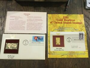 1983 BALLOONING In Flight 22kt Gold Replica Stamp 1st Day Issue