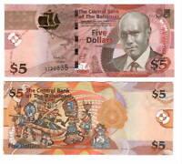 BAHAMAS UNC $5 Dollars CRISP Series Banknote (2013) P-72 Extra Island G Prefix