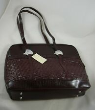 Coldwater Creek Faux Leather Woven Brown Laptop Computer Bag Tote Croc Pattern