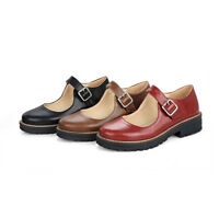 Retro Women Round Toe Oxford Pumps Block Low Heels Buckle Mary Jane Casual Shoes