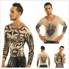 Mens Long Sleeve Mesh See Through T-shirt Fake Tattoo Blouse Shirt Party Fancy