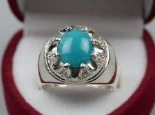 Natural Neshapuri Blue Turquoise Sterling Silver 925 Handmade Feroza Women Ring