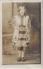 1920s? RP POSTCARD PITTSBURGH PA WOMAN ETHNIC NEEDLEPOINT DRESS EASTERN EUOPEAN?
