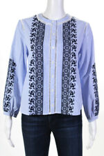 Veronica Beard Womens Cotton Embroidered Striped Button Down Blouse Blue Size 4