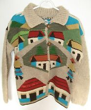 "Unique ""Folk Art Design"" Hand Knit Wool Sweater, South America, Size M?"