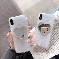 Fashion 3D Cute Love Heart Diamond Mirror Shell Glitter Soft Phone Case For ipho