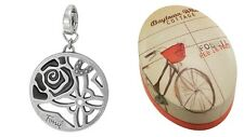 NWT Fossil Brand Floral charm  stainless steel w/metal gift box in bicycle logo