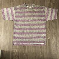 Vintage Striped Permit T-Shirt Size S / M 80's 90's Baggy Surf Skate Wavy