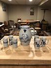 Antique Ithaca NY Stoneware Ale pitcher & set of tankards- Prosit