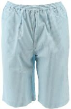 Quacker Factory Stretch Seersucker Shorts Pockets Turquoise XXS # A352500
