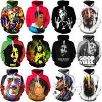 HOT New Womens/Mens 2pac Tupac Bob Marley Star 3D Print Casual Hoodie Sweatshirt