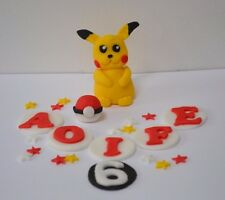 Handmade Edible Pokemon, pikachu Cake Topper, birthday