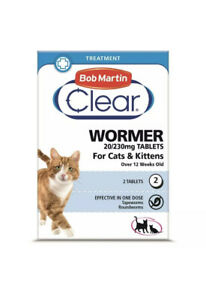 Bob Martin Clear Wormer For Cat & Kittens  20/230 mg 2 tablets.