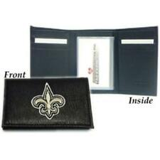 New Orleans Saints Wallet Trifold Leather Embroidered
