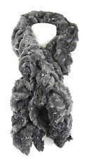 B102 Faux Fur Ruffle Sequin Super Soft Charcoal Gray Scarf Neck Warmer Boutique