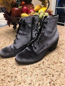 Dolce Vita Gray Velvet Bardot Charcoal Lace Up Combat Ankle BootsSize 8.5!