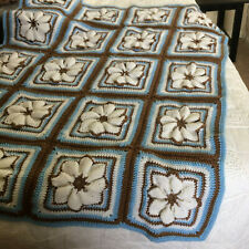 ADORABLE Handmade Crochet 3D Floral Flower Blue Granny Square Lap Throw 38 x 48