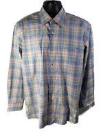 Alan Flusser Mens Size M Casual Long Sleeve Plaid Multicolor Button Shirt