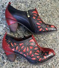 Spring Step L'Artiste Red/Black Floral Ankle Bootie Heels Shoes 38 ~ 7.5 / 8