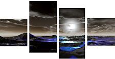 "Large 4 Split Panel Set 30"" High Wall Art Canvas Pictures Black Blue Modern Sea"