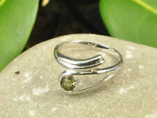 Moldavite 5mm faceted ring silver.925 Rh - US 7 3/4 - 13.35ct #RING686