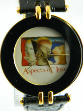 ASPECTS OF LOVE BLACK AND GOLD TONE CASE LADIES WATCH /BLACK LEATHER BAND
