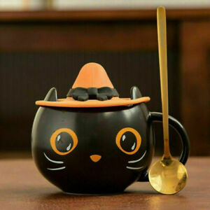 Black Cat Cup Water Mug Halloween Gift with Cap Lid & Spoon For Starbucks Cups