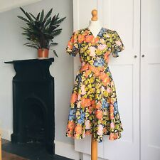 Vtg 70s Black Orange Blue Pink Green Floral Print Angel Sleeve Flared Dress 12