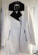 """Guess"" Designer Coat, Size L (UK 12), Winter White, Black Collar, Zip Detail"
