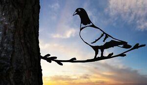 Racing Homer Pigeon metal tree art for the garden Steel Rusty Silver Copper