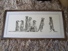 """Gary Hodges Limited Edition Print Meerkat """"Family"""". Signed, Numbered, Framed"""